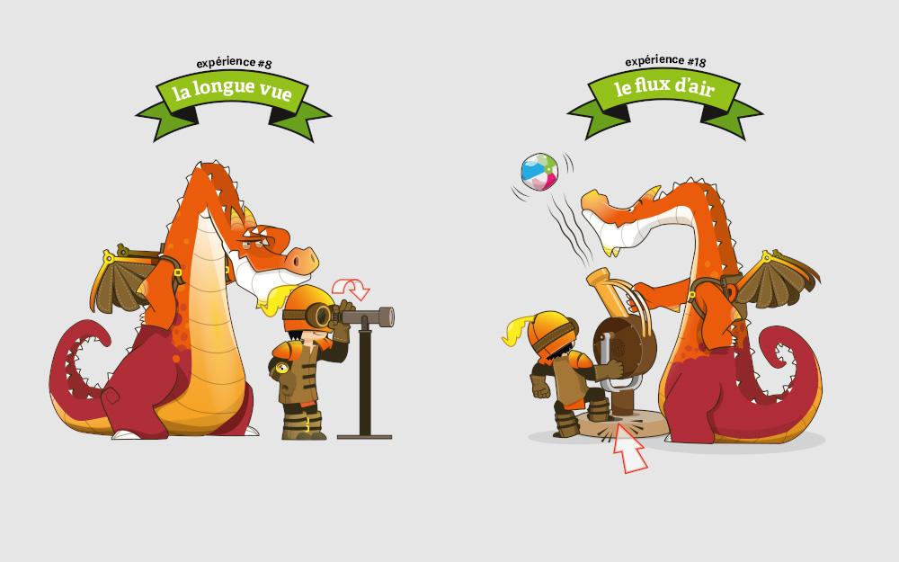 studio crumble illustration graphisme mascottes labo de merlin espace des sciences. Black Bedroom Furniture Sets. Home Design Ideas